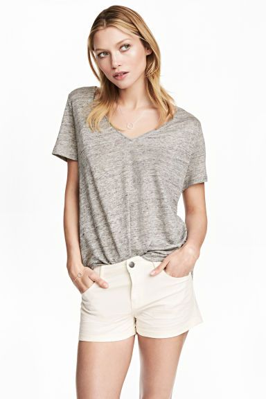 Linen V-neck top - Grey marl - Ladies   H&M 1