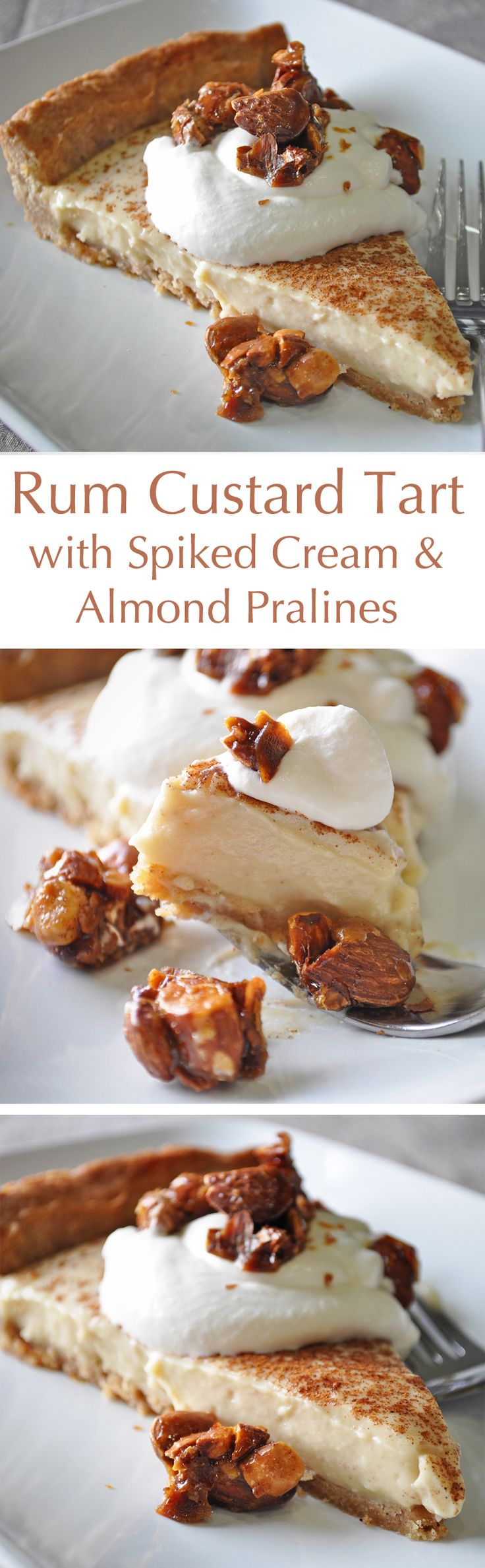 This Rum Custard Tart features creamy rum-spiked custard in a Brown Sugar Crust, topped with rum-spiked whipped cream and carmel Almond Pralines. It's a perfect Thanksgiving dessert recipe... although I for one am not about to wait until then to make it.