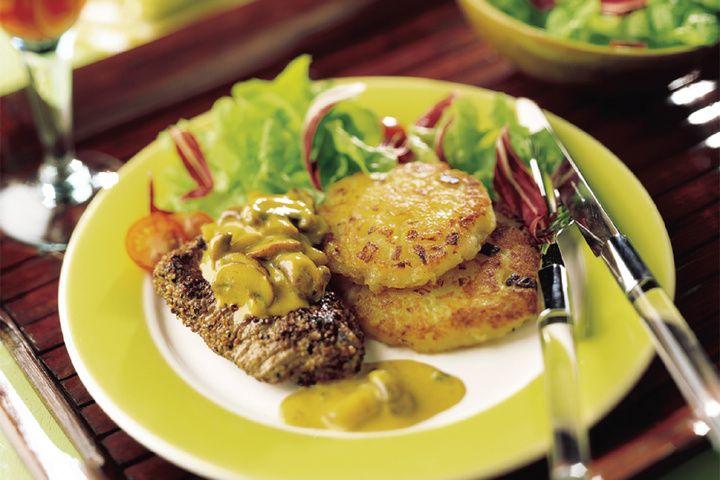 Biefstuk met champignons en aardappelkoek
