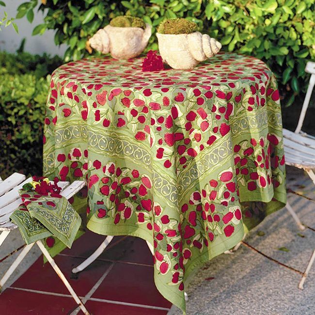 couleur nature fruit 90inch round tablecloth redgreen round 90 iinches