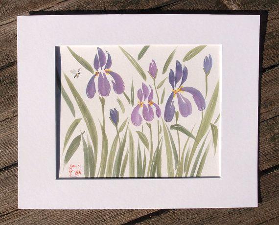 Iris Flower Original Chinese Brush Sumi-e by KelliMcNicholsArt