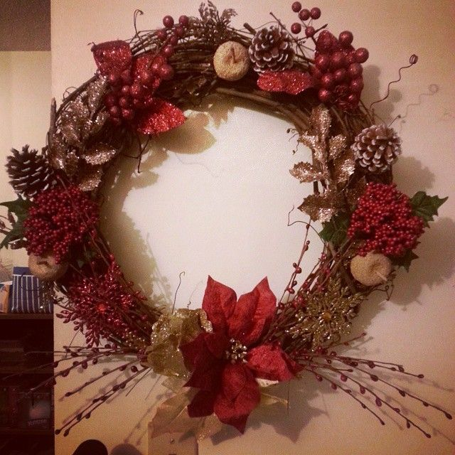 Red and gold custom wreath