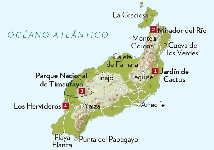1 Jardín de Cactus. Alberga casi 1.400 especies procedentes del resto de las Canarias, de América y de Madagascar.  2 Mirador del Río. Desde esta atalaya, obra de César Manrique, se divisa La Graciosa y otros islotes de las Chinijo. 3 P. N. Timanfaya. Uno de los paseos oficiales es la Ruta de los Volcanes. Se realiza en autocar o a lomos de camello. 4 Los Hervideros. La erosión formó cuevas subterráneas que hoy se utilizan como balcones sobre esta costa de lava.