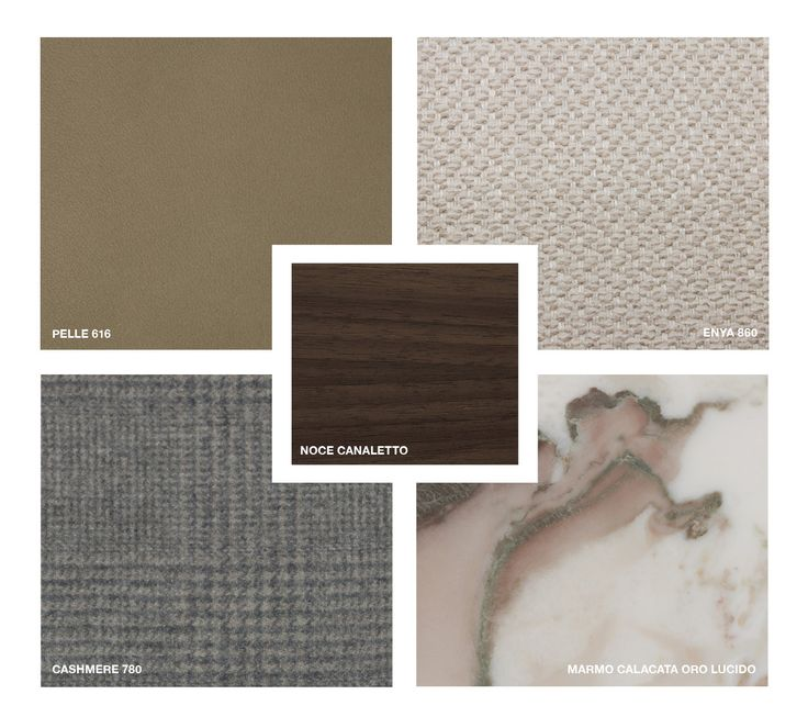 Wood: Canaletto Walnut Marble: Calacatta oro glossy Leather: Pelle 616 Fabrics: Enya 860 Cashmere 780