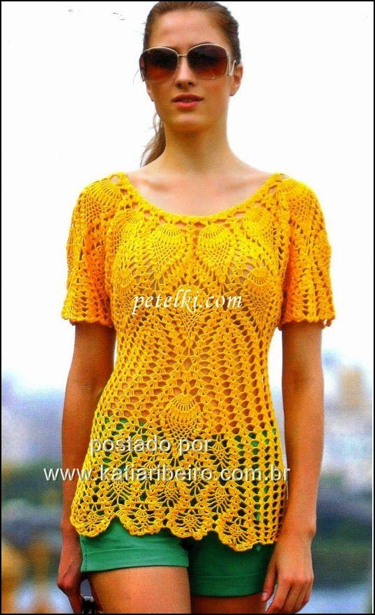 Blusa com ponto abacaxi em crochê com gráfico