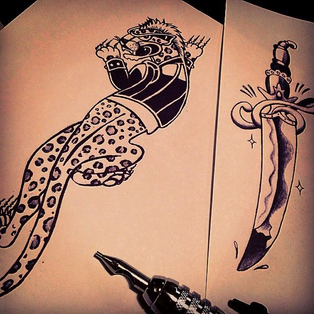 「#traditionaltattoo #leopard #dagger #vantattoostudio #illustrator #art #zen  #illustrations  #TATTOO #tattoos #tattoolife #tattooartist #work #sketch…」