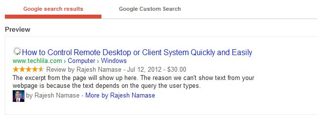 Rich Snippets Preview