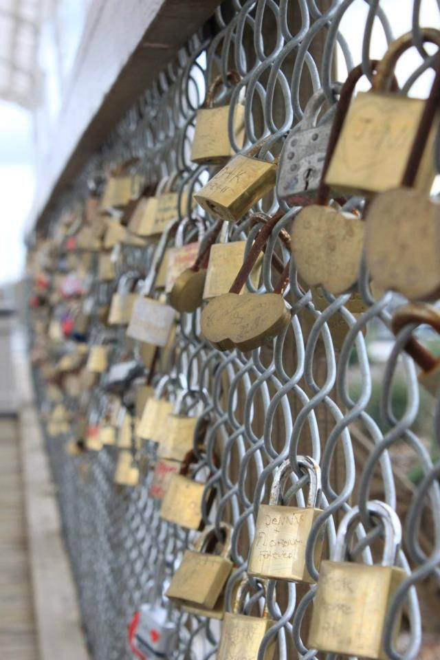 """""""Lovers Lock"""" Bridge at The Napa Valley Winery Train Station I luv this idea. We have seen this and put a lock on the fence. I might try to put our names and date on a lock.To revisit in the coming years. photo by @ElysiumHuntress"""