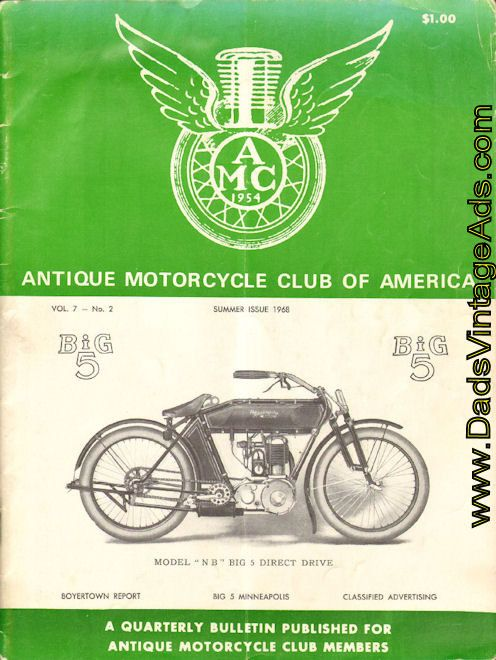 Front cover: Minneapolis NB Big 5 Direct Drive Antique Motorcycle   Contents: 20 pages of brochure reprints of the 1911 Minneapolis Motorcycle Company including: The Unit Power Plant; The Two-Speed Gear; Specifications Model N; Model N Big 5 two-speed prices; Specifications & prices of Model NB; Tr