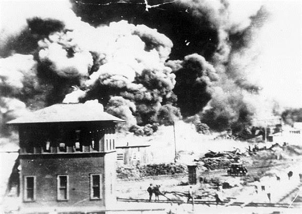 "On June 1, 1921, the Tulsa Race Riot ends. The wealthiest African-American community in the United States, the Greenwood District (also known as ""Black Wall Street""), is completely destroyed."