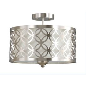 allen + roth Earling 15-in W Brushed Nickel Fabric Semi-Flush Mount Light