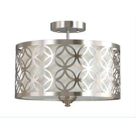 Allen + Roth Earling 15-In W Brushed Nickel Fabric Semi-Flush Mount Light 6170-Sf-2-Bn