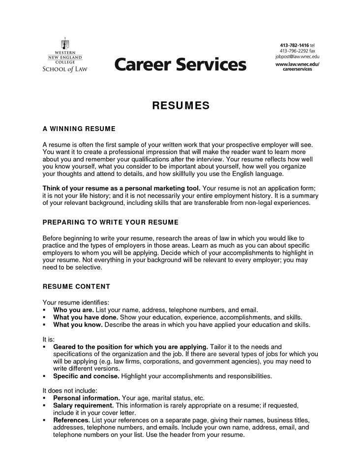 Writing A Resume For College  Resume Writing And Administrative
