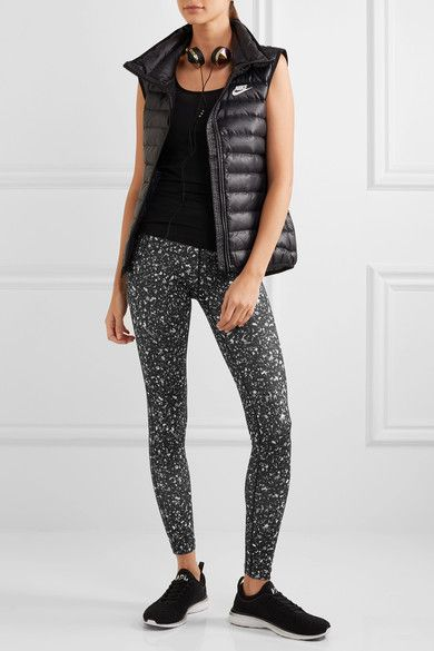 Nike - Power Essential Printed Dri-fit Stretch-jersey Leggings - Black - x large
