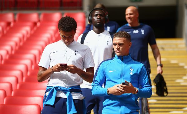 LONDON, ENGLAND - AUGUST 5: Dele Alli and Kieran Trippier of Tottenham Hotspur arrive at the stadium prior to the Pre-Season Friendly match between Tottenham Hotspur and Juventus at Wembley Stadium on August 5, 2017 in London, England