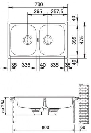 FRANKE drez 780x475 mm nerez