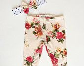 Baby Leggings and Headband Set Knit Floral with Polka Dots by Lottie and Me Baby Wear