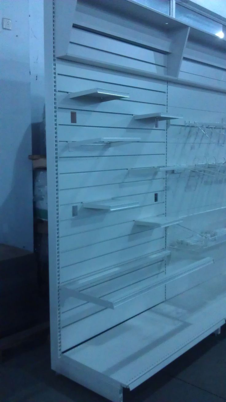 Shop gondola shelving with steel slatwall back, to hold shelves, baskets, hooks & prongs. More items request, please contact with us - Linkup Store Equipment Co., Ltd.