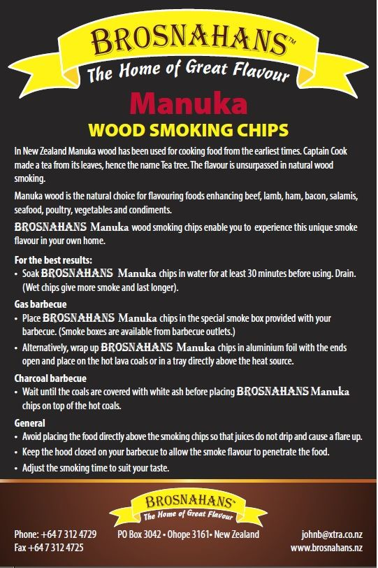 THE best wood ever for smoking food.  This New Zealand original is a gourmet griler's dream.  Delicate and slightly sweet.  A must for the serious griller. http://blog.outwalkabout.com/wordpress/manuka