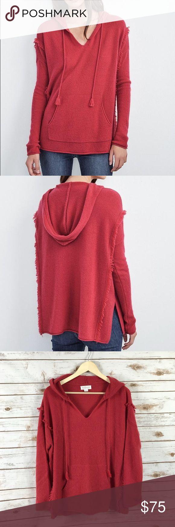 "Velvet by Graham & Spencer Jacqueline Sweater Velvet by Graham and Spencer size large, red Jacqueline cashmere fringe hoodie. EUC. 100% Cashmere. •Underarm to Underarm= 27"" •Length= 28.5"" Velvet by Graham & Spencer Sweaters"