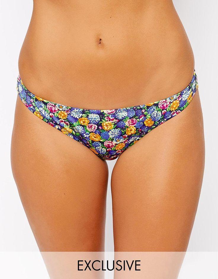 Bikinihose von ASOS Collection 80% Polyamid, 20% Elastan aus Stretchmaterial für Bademode niedriger Hüftschnitt Rückseite mit brasilianischer Passform Blumenmuster Handwäsche