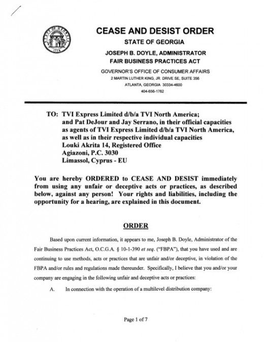 State of Georgia's Cease and Desist Order against TVI Express and its North American operation.