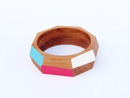 Geometric wooden bangle (70mm) + wood polish