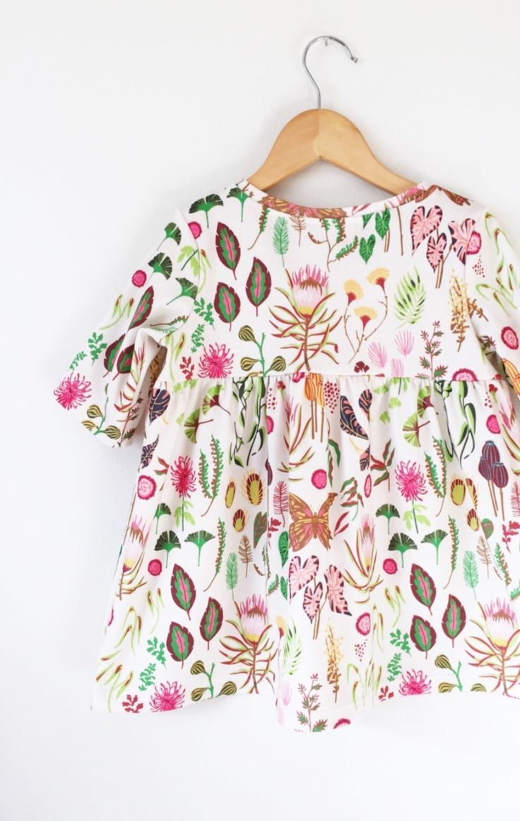 Handmade Organic Cotton Botanical Print Dress | LolaandStella on Etsy