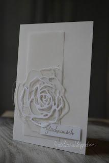 heute mal mit einer Glückwunschkarte zur Hochzeit, eine Kombination aus Flüsterweiß und Pergament.        Die Rose ist passend zum Hintergru...