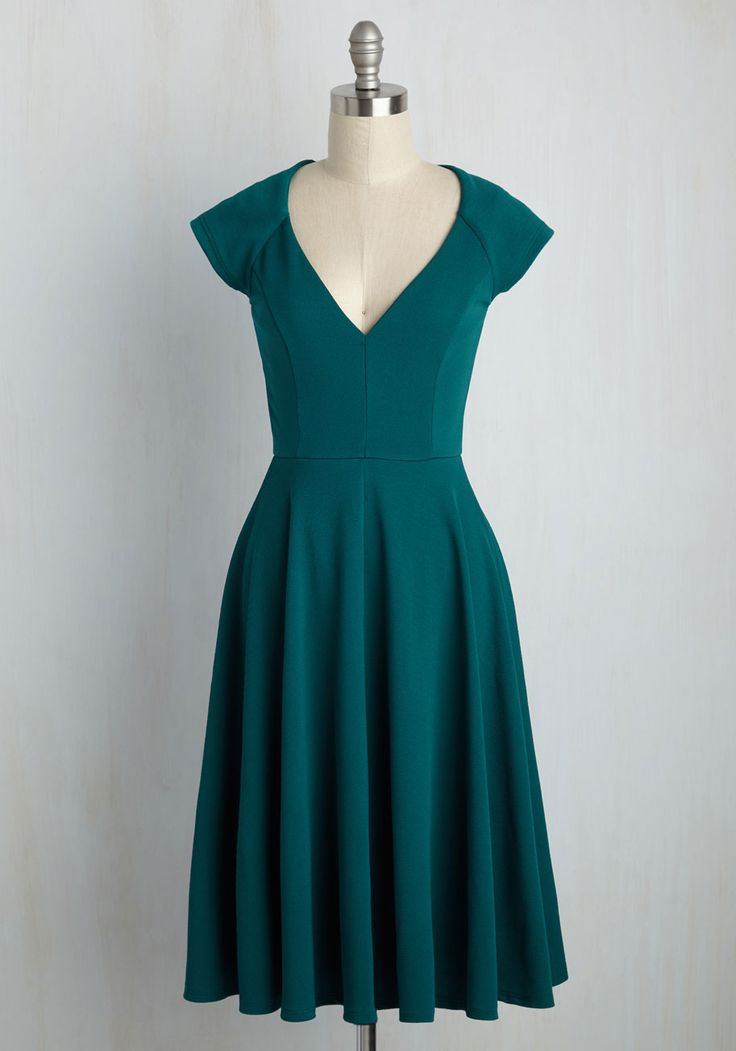 Name the Date A-Line Dress in Teal. When your love offers to take you anywhere you wish, you let this teal dress dictate the flavor of the evening. #green #modcloth