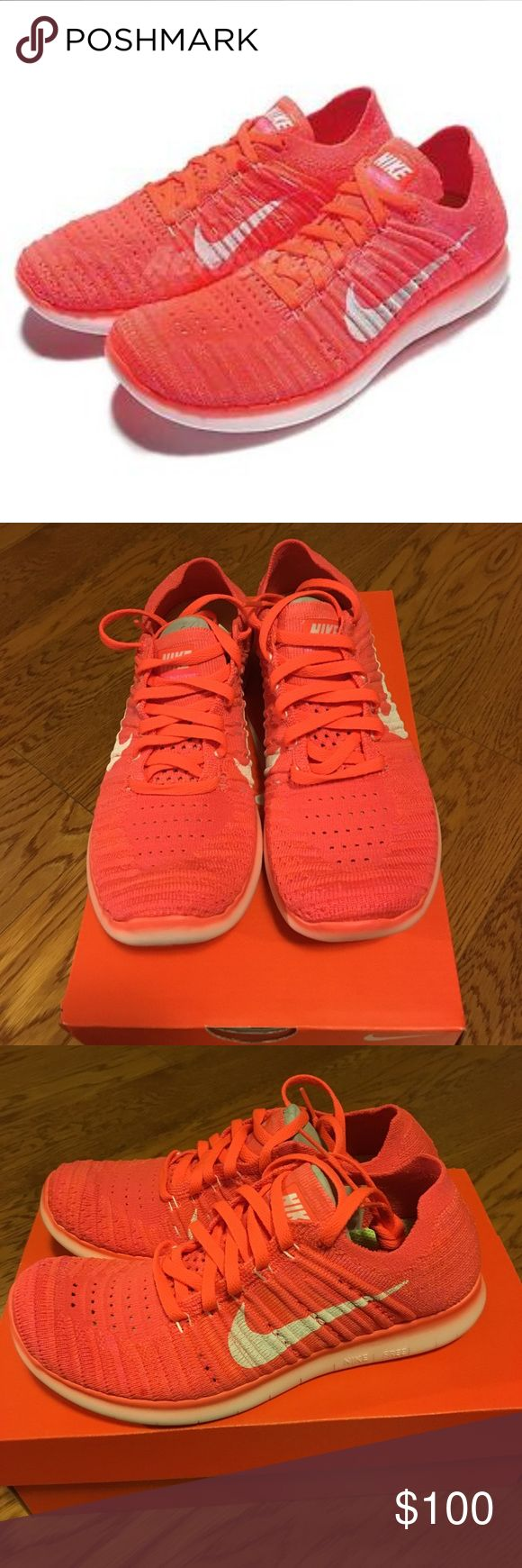 WMNS NIKE FREE RN FLYKNIT Brand new with original box. Women Nike free RN FLYKNIT. HYPR ORNG / WHT-TTL CRMSN-PNK BL HYPER ORANGE / CRAMOISI TOTAL / RO. Size: 6 Nike Shoes Athletic Shoes