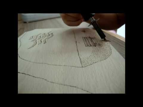 Landscape Pyrography(wood burning) and painting - YouTube
