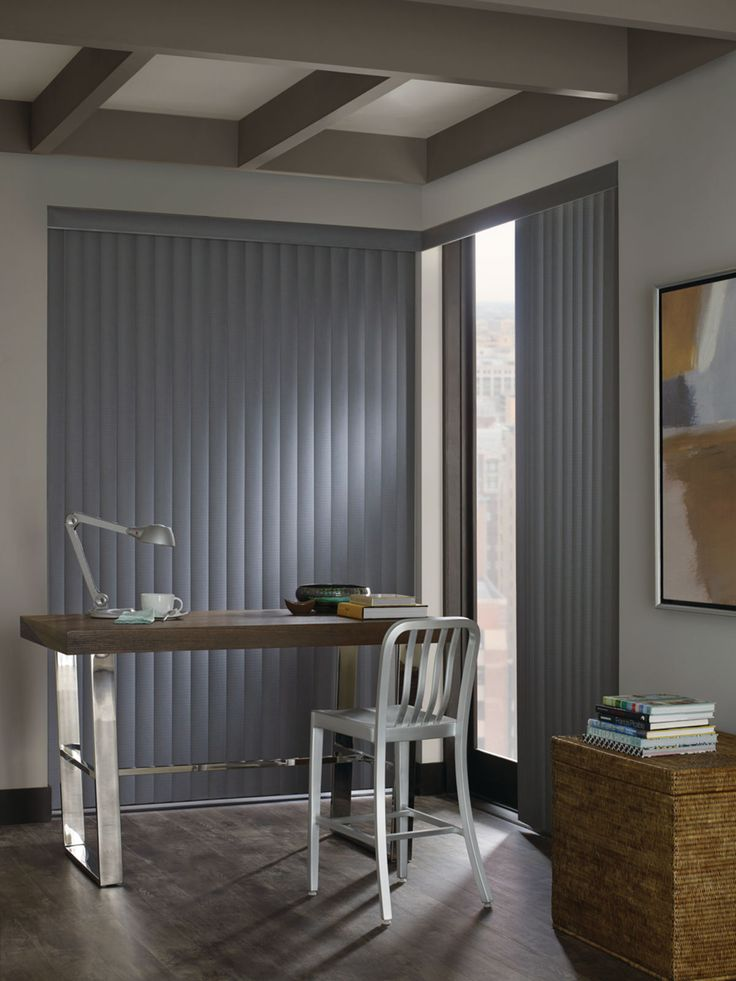 Don't let your home's flooring, artwork, and furniture be damaged by the sun's harmful UV rays. Somner custom vertical blinds protect against at least 75% UV rays. Come take a look at these Hunter Douglas blinds in our showroom - they're available in a vast selection of fabrics, treatments, textures, and materials!