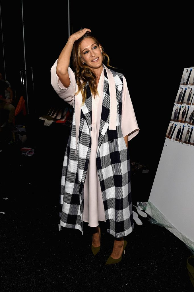 Sarah Jessica Parker poses backstage at the Tome fashion show during Mercedes-Benz Fashion Week Fall 2015 on February 12, 2015