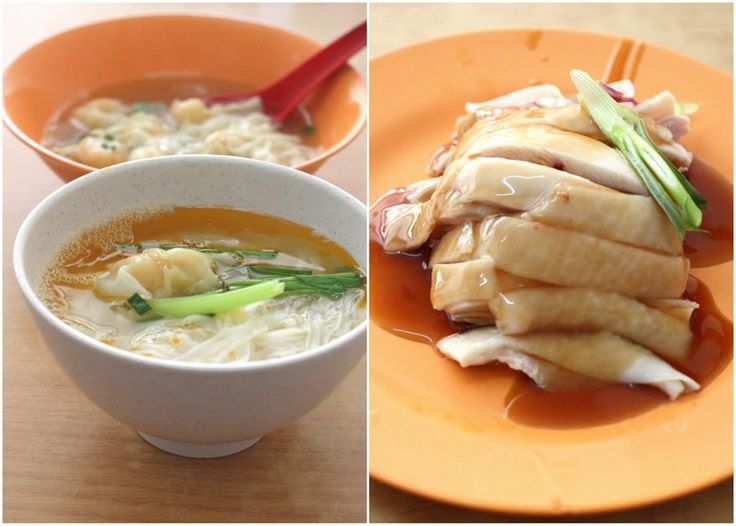 Noodles with Prawn Wantans, Poached Chicken