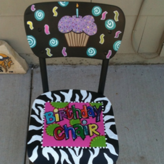Birthday chair and a birthday plate that match