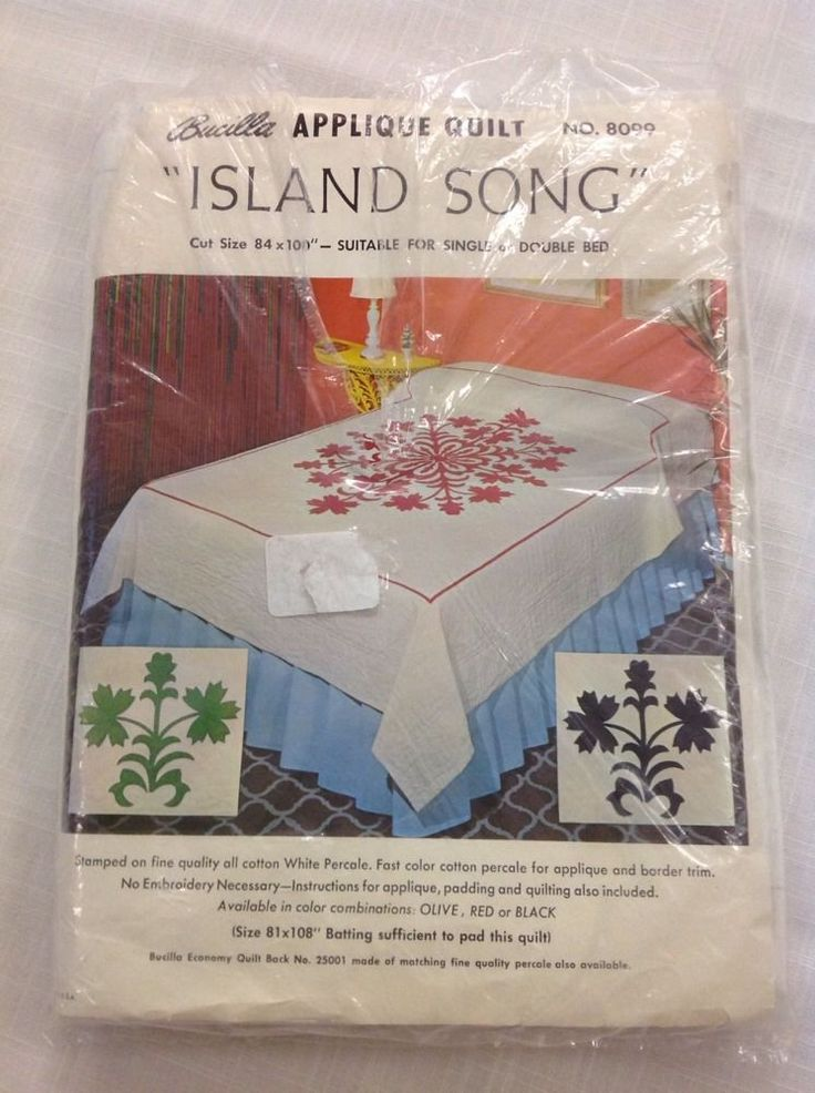 "Bucilla Appliqué Quilt 8099 Island Song Red 84"" X 100"" Single Or Double Bed Size #Bucilla"
