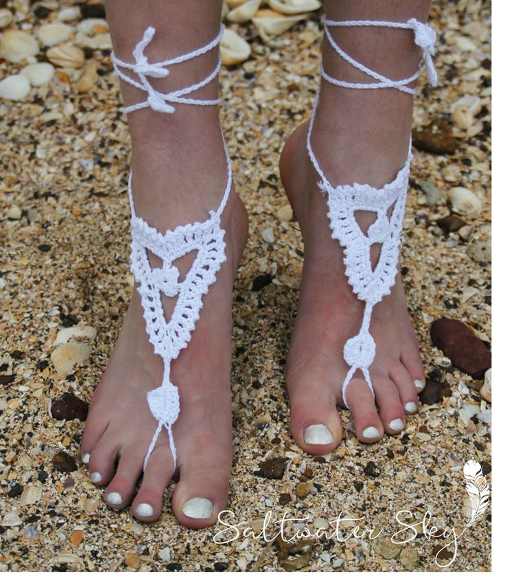 Dress up your bare feet this summer with gorgeous crochet foot sandals. Only $15.  Available in white, black, natural and pink.  Shop now for first time purchase discount of 20% with discount code SWSK2DIS at checkout! #barefeet #crochet #boho #bohemian #beachwedding #summerstyle