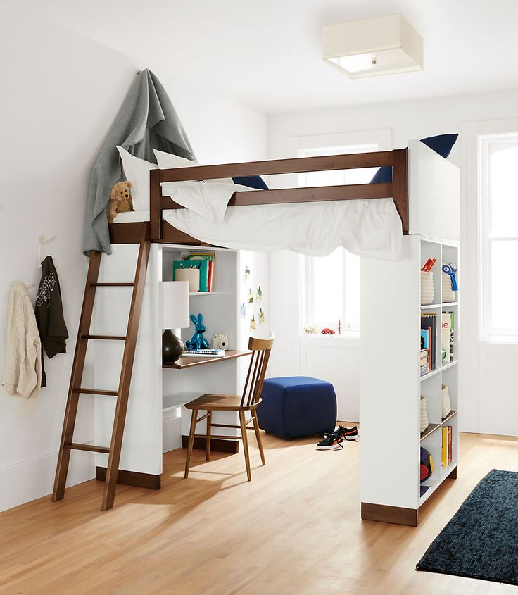 Moda Modern Wood Kids Loft - Moda Loft Beds with Desk and Bookcase Options - Bunks & Lofts - Kids - Room & Board