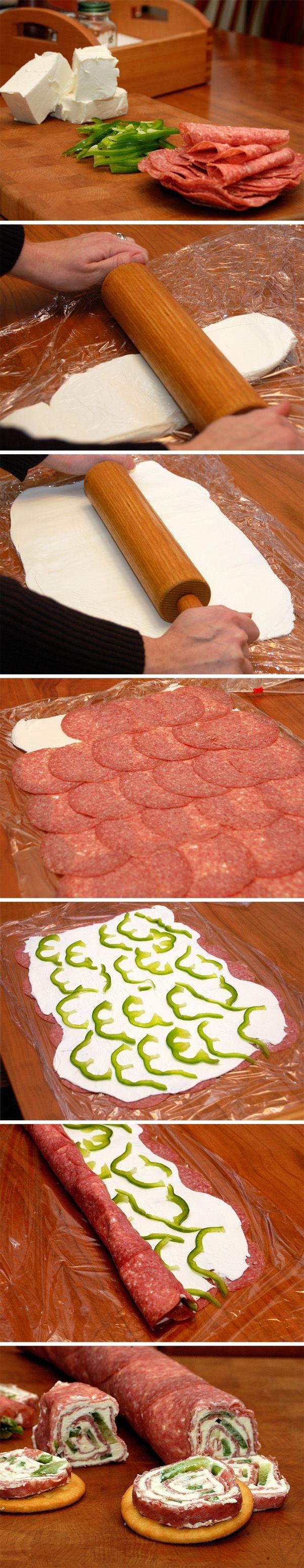 Rollitos de queso y salami