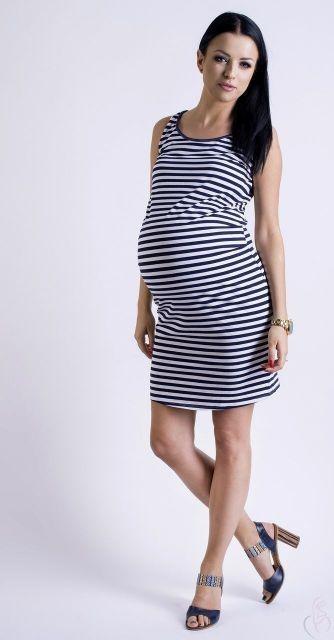 b0a7e024336f Letní těhotenská šaty proužkované