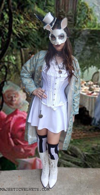 Steampunk Alice in Wonderland White Rabbit Costume: Corset, Blue Jacket, and Short White Skirt