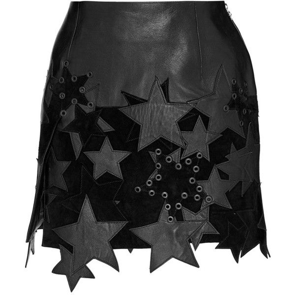 Anthony Vaccarello Mini Skirt With Patchwork Stars And Side Slit ($2,660) ❤ liked on Polyvore