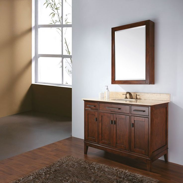 avanity madison light espresso single bathroom vanity with optional mirror single sink bathroom vanities at hayneedle - Bathroom Cabinets Lowes