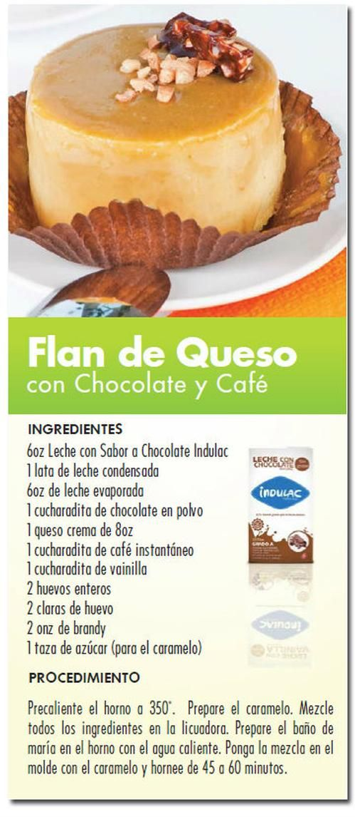 Flan de queso con chocolate y café