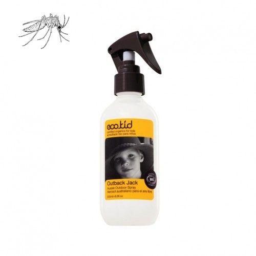 Gezond, 3 uur lang bescherming tegen insecten. Ecokid Outback Jack Outdoor Anti Muggenspray is een actieve vochtinbrengende spray die rijk is aan biologische antioxidanten afkomstig uit het Amazone regenwoud. Het laat een beschermend laagje op de huid achter.