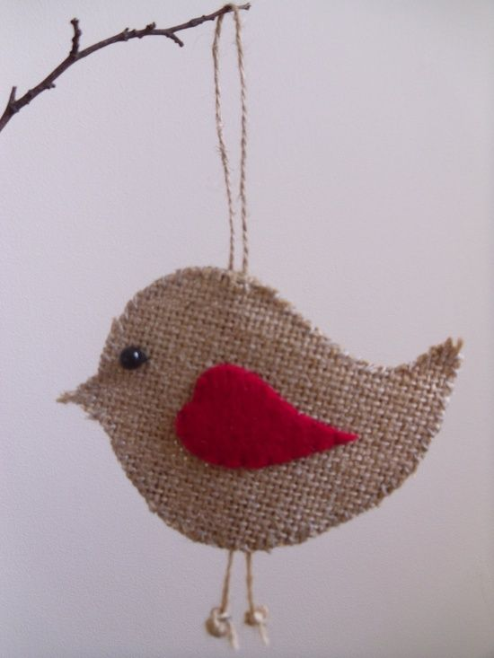 too cute..burlap Christmas ornament..could even put on Christmas wrapping paper for gift