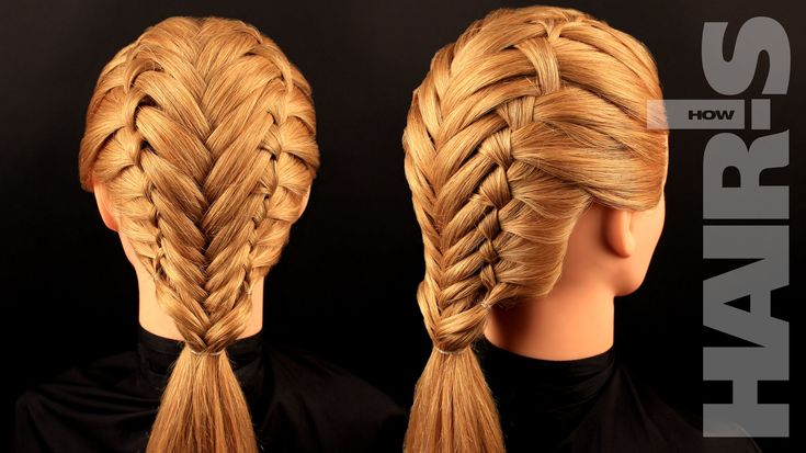 Double Waterfall French Braids on Each Side and then Easy Fishtail Down the Center How to Video Tutorial (no speaking but easy to watch and follow).  Учимся плести французские косы с колоском - видеоурок (мастер-класс)