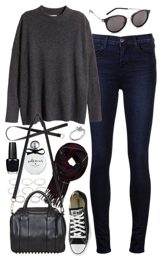 """""""Outfit for college"""" by ferned on Polyvore featuring J Brand, H&M, Forever 21, Kate Spade, OPI, Abercrombie & Fitch, Alexander Wang, Converse, Michael Kors and Yves Saint Laurent"""