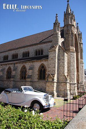 Jaguar Mk5 convertible at St Patrick's Basilica Fremantle #classicweddingcars  http://www.belle.net.au/st-patricks-basilica-fremantle-limousine-access/